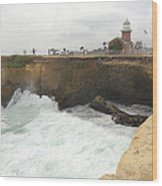 Crashing Surf Near The Lighthouse Wood Print by Ron Regalado