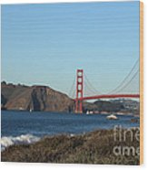 Crashing Waves And The Golden Gate Bridge Wood Print by Linda Woods
