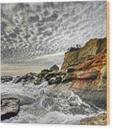 Crashing Waves At Cape Kiwanda Wood Print