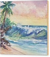 Crashing Waves At Sunrise Wood Print