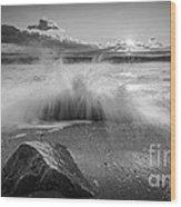 Crashing Waves Bw Wood Print