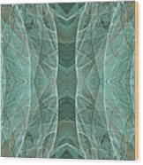 Crashing Waves Of Green 2 - Panorama - Abstract - Fractal Art Wood Print