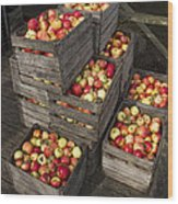 Crated Apples Wood Print