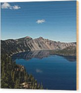 Crater Lake And Boat Wood Print