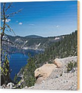 Crater Lake And Moss Covered Tree Wood Print