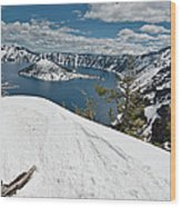 Crater Lake And Wizard Island In June Wood Print