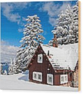 Crater Lake Home - Crater Lake Covered In Snow In The Winter. Wood Print