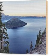 Crater Blue Wood Print