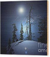 Crater Lake Midnight Oregon Wood Print