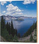 Crater Lake Pnorama - 2 Wood Print