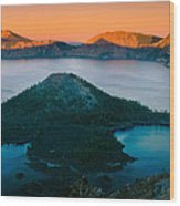 Crater Lake Sunset Wood Print