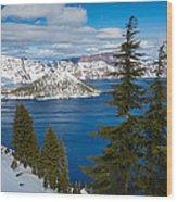 Crater Lake Winter Panorama Wood Print