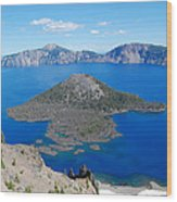 Crater Lake Wizard Island Wood Print