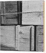 Crates At The Orchard 2 Bw Wood Print