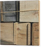 Crates At The Orchard 2 Wood Print