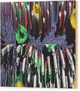 Crayon Explosion Wood Print