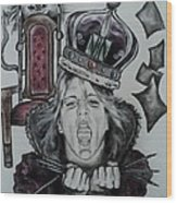 Crazy Carla Queen Of Charcoal Land Wood Print