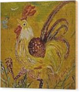 Crazy Chicken Wood Print by Louise Burkhardt