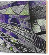 Crazy Cones Purple Greenl2 Wood Print