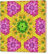 Crazy Daises - Spring Flowers - Bouquet - Gerber Daisy Wanna Be - Kaleidoscope 1 Wood Print