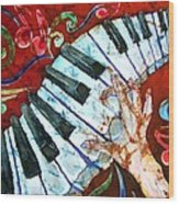 Crazy Fingers Piano Square Wood Print