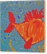 Crazy Fish Wood Print