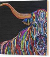 Crazy Woman Bull Wood Print