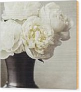 Cream Peonies In A Rustic Vase Wood Print