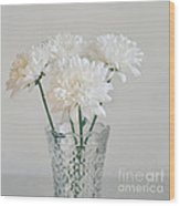 Creamy White Flowers In Tall Vase Wood Print by Lyn Randle