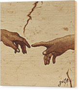 Creation Of Adam Hands A Study Coffee Painting Wood Print