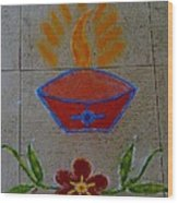 Creative Diya Rangoli Wood Print