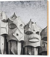 Creatures Of La Pedrera Bw Wood Print