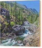 Creek Flowing Through Rocks, Icicle Wood Print