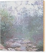 Creek In The Forest Wood Print