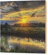 Creek Sunset Wood Print