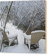 Creekside Chairs In The Snow 2 Wood Print