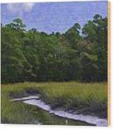 Creekside Fishing Wood Print