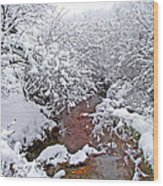 Creekside In The Snow 3 Wood Print