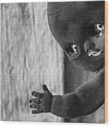 Creepy Baby Bw Wood Print