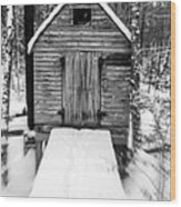 Creepy Cabin In The Woods Wood Print by Edward Fielding