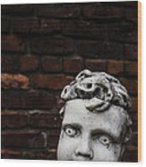 Creepy Marble Boy Garden Statue Wood Print