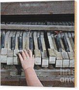 Creepy Piano Baby Wood Print