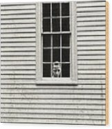 Creepy Victorian Girl Looking Out Window Wood Print