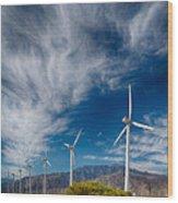 Creosote And Wind Turbines Wood Print