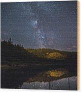 Crescent Lake Midnight Wood Print