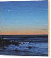 Crescent Moon Above A Rocky Shore Wood Print