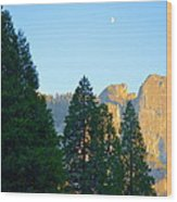 Crescent Moon Over Mountain Wood Print