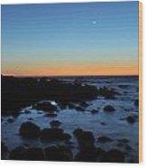 Crescent Moon Setting Off The San Mateo Coast Wood Print