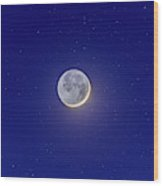 Crescent Moon With Earthshine Amid Stars Wood Print