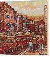 Crescent Street Family Stroll  Montreal City In Autumn City Scene Paintings Carole Spandau Wood Print